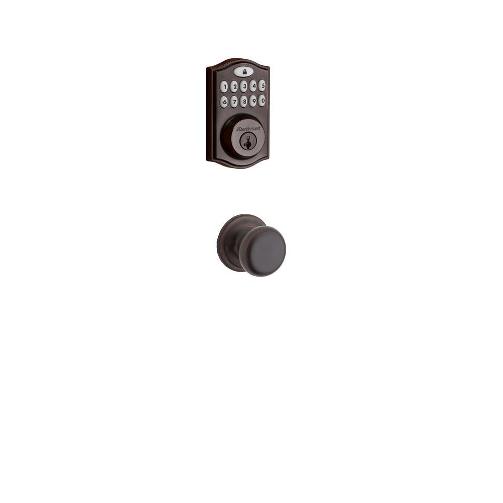 Z-Wave SmartCode Venetian Bronze Single Cylinder Electronic Deadbolt featuring Juno Hall/Closet Knob