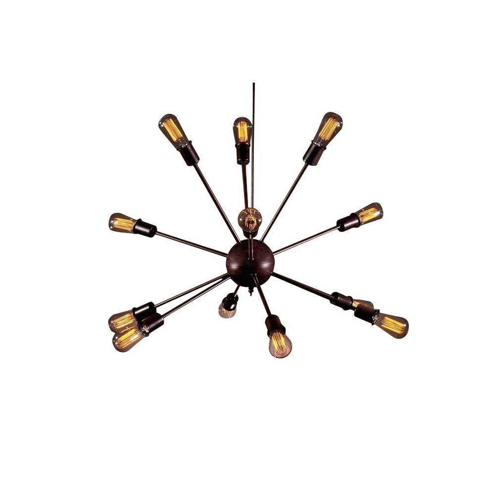 Edison Jackstone Collection 12-Light Bronze Indoor Chandelier