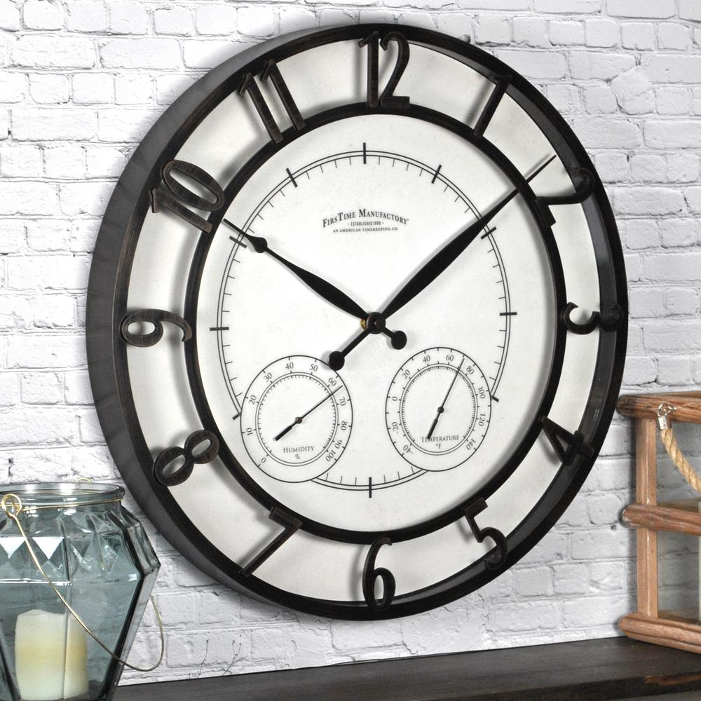 round park outdoor wall clock - Outdoor Clock Thermometer