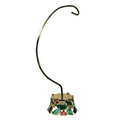 12.25 in. Holly and Berries Gold Christmas Ornament Holder