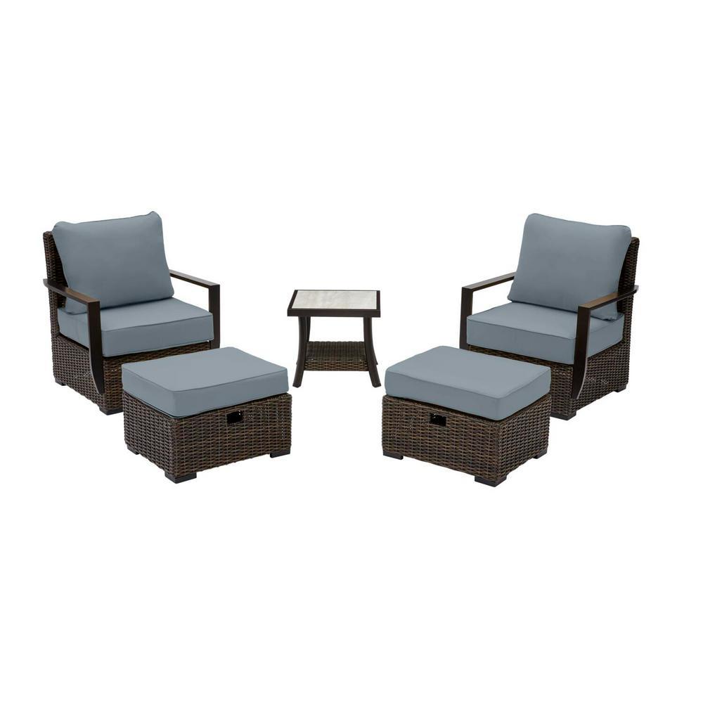 Whitfield 5-Piece Dark Brown Wicker Outdoor Patio Bistro Set with Sunbrella Denim Blue Cushions