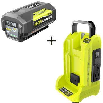 300-Watt Powered Inverter for 40-Volt Battery with 4.0 Ah Battery Included