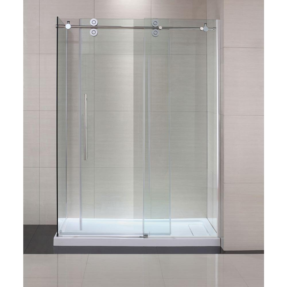 Semi-Framed Shower Enclosure with Sliding Glass Shower Door in Chrome and Clear Glass-SC70019 - The Home Depot
