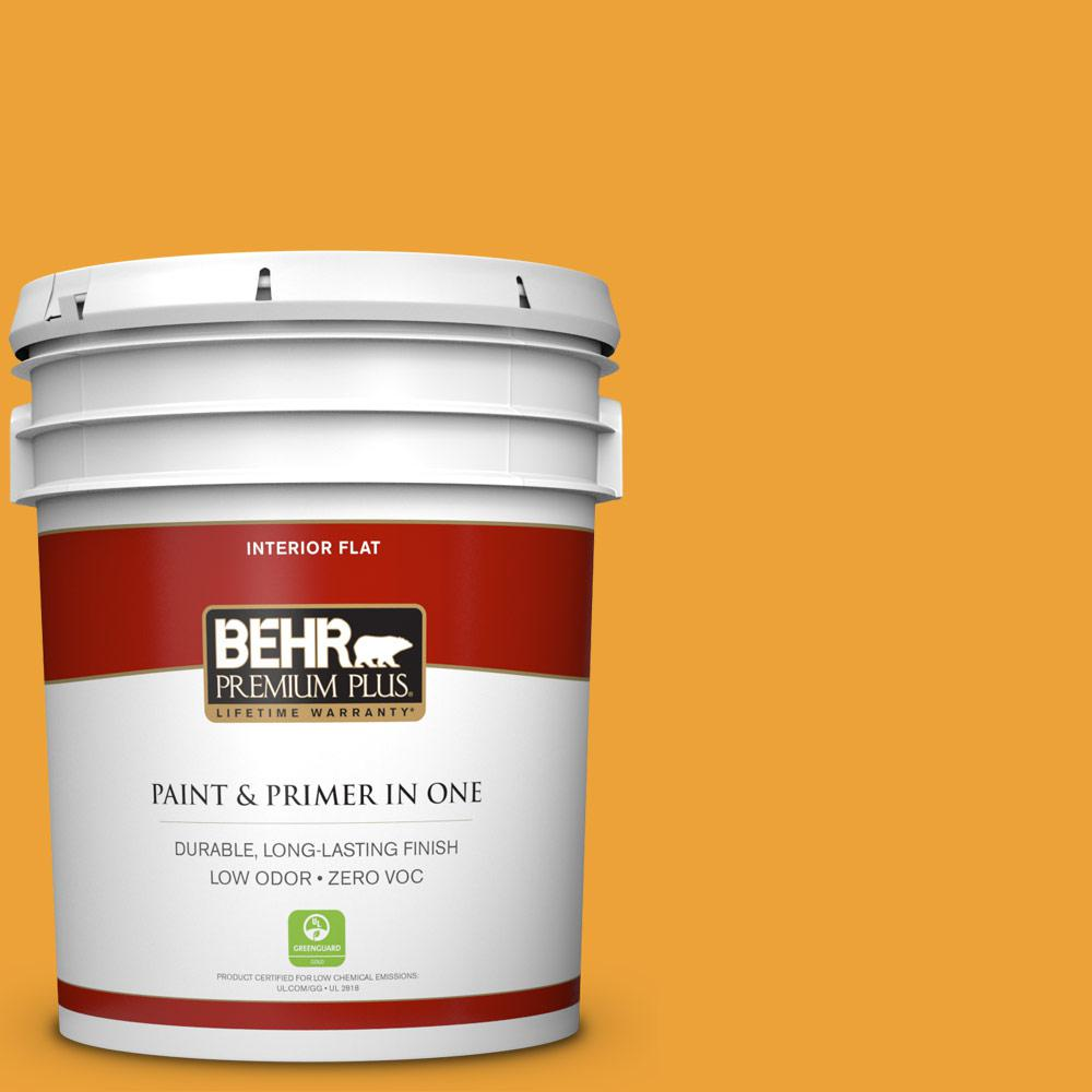 5 gal. #HDC-FL14-5 Gilded Leaves Zero VOC Flat Interior Paint