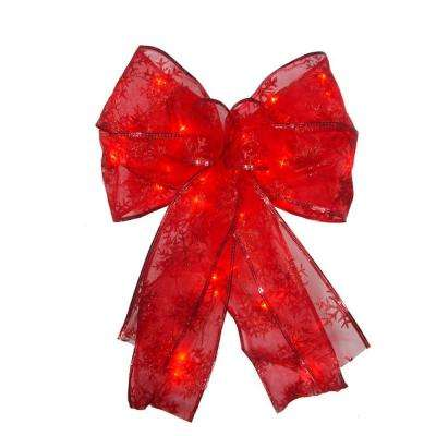9 in. 36-Light Battery Operated LED Red Everyday Bow