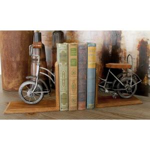 7 inch x 8 inch Bronze Vintage Bicycle L-shaped Bookends by