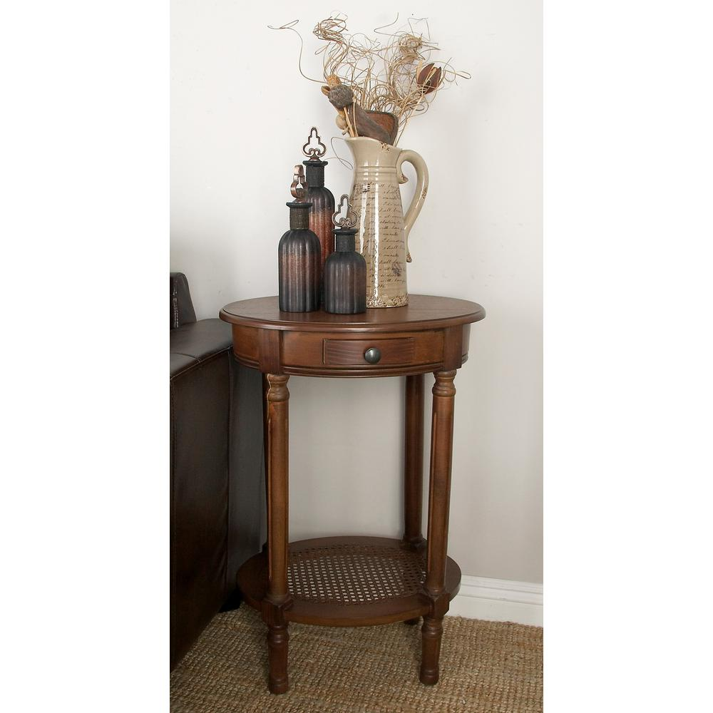 Cherrywood Brown Wooden Round Accent Table