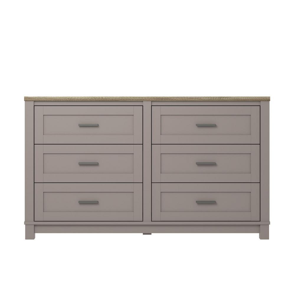 Ameriwood viola gray light brown 6 drawer dresser