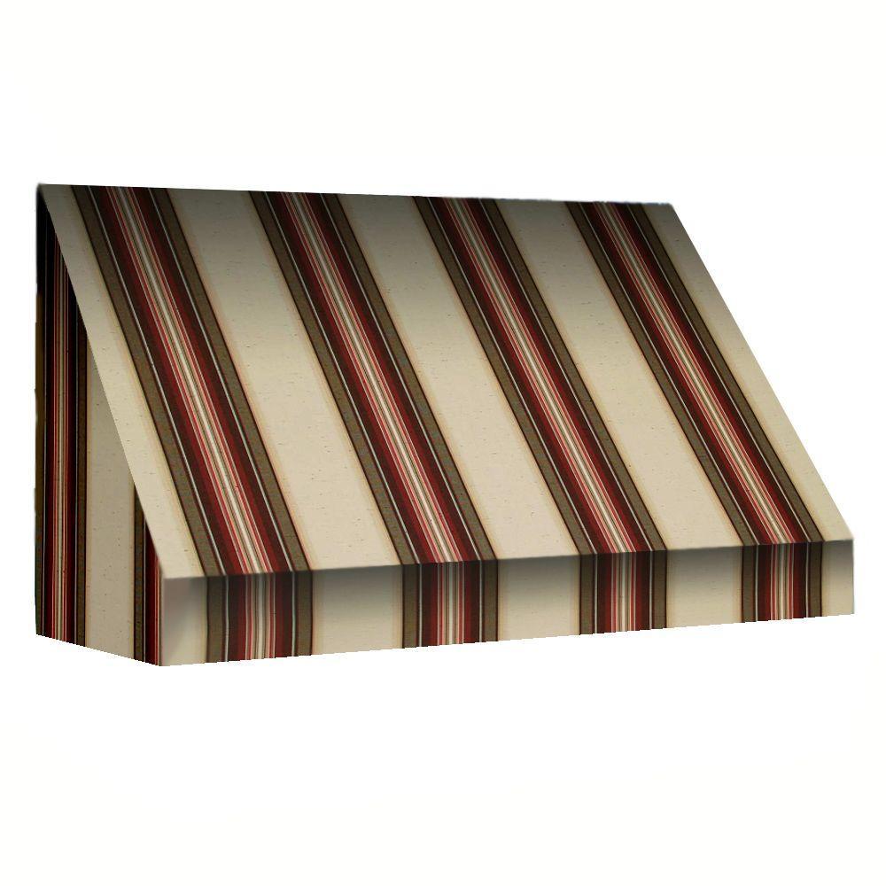 AWNTECH 50 ft. New Yorker Window Awning (44 in. H x 24 in. D) in Brown/Linen/Terra Cotta Stripe
