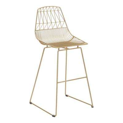 Brody Gold Metal Outdoor Bar Stool (2-Pack)