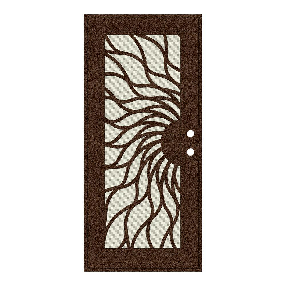Unique Home Designs 36 in. x 80 in. Sunfire Copperclad Left-Hand Recessed Mount Aluminum Security Door with Beige Perforated Screen