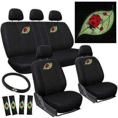 Polyester Seat Cover Set 24 in. L x 21 in. W x 40 in. H 17-Piece Embroidered Ladybug Seat Cover Set