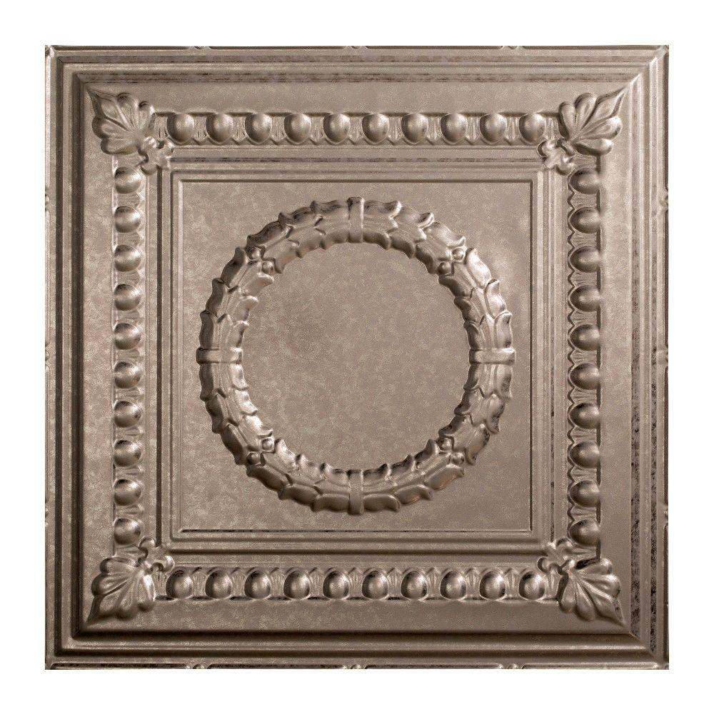 Fasade Rosette - 2 ft. x 2 ft. Lay-in Ceiling Tile in Galvanized Steel