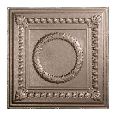 Rosette - 2 ft. x 2 ft. Lay-in Ceiling Tile in Galvanized Steel