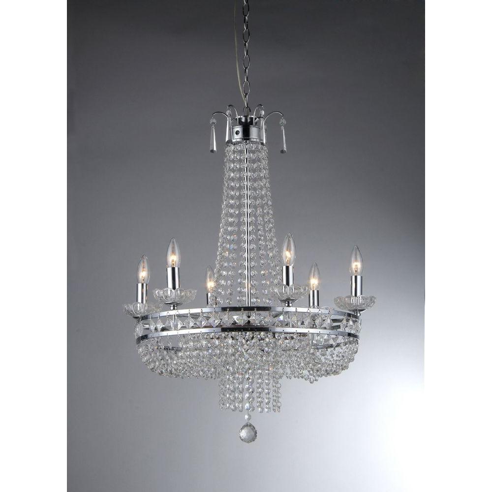 Warehouse of Tiffany Euphoria 7-Light Ceiling Chrome Crystal Chandelier by Warehouse of Tiffany