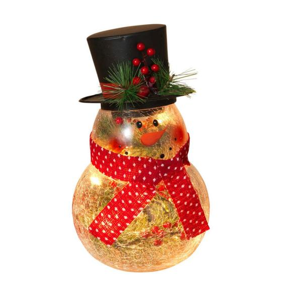 10 in. H Electric Lighted, Crackle Glass Snowman with Metal Top Hat