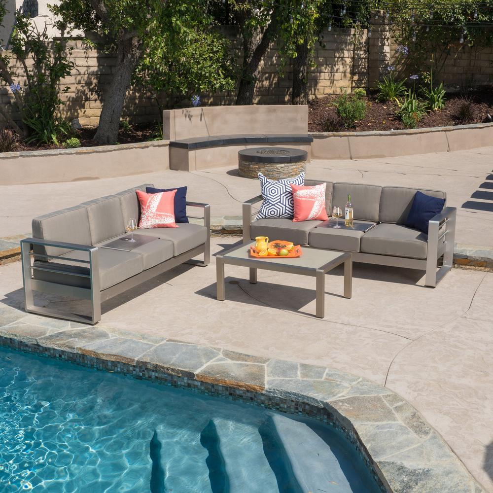 Cape Coral Sliver 3-Piece Aluminum Patio Conversation Set with Khaki Cushions