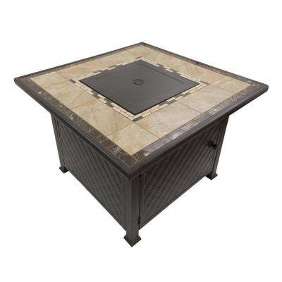 52 in. L x 37.5 in. W x 32 in. H Rectangle Marble Tile Top Fire Pit in Brown