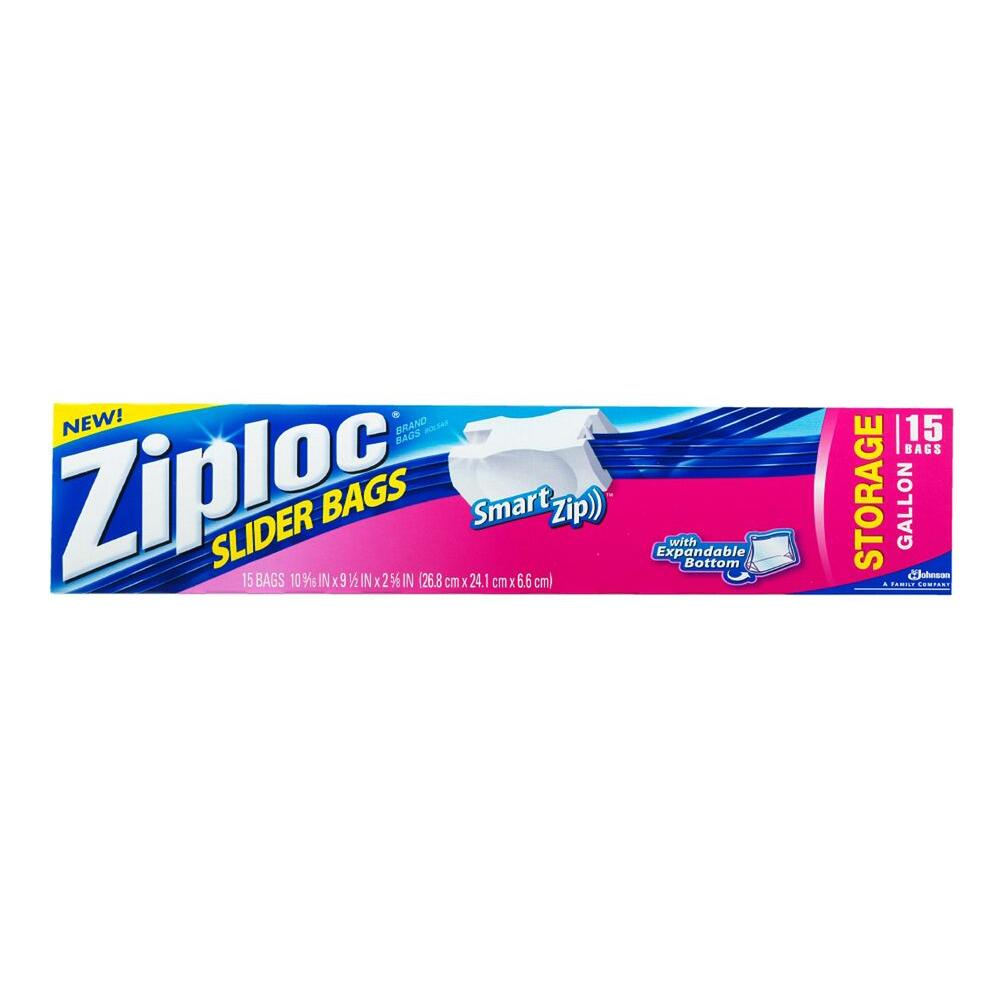 Ziploc Gallon Expandable Bottom Plastic Storage Bag With Slider 15 12 Pack