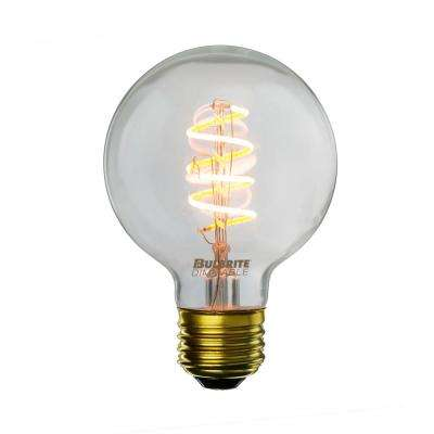 40W Equivalent Amber Light G25 Dimmable LED Curved Filament Nostalgic Light Bulb (2-Pack)