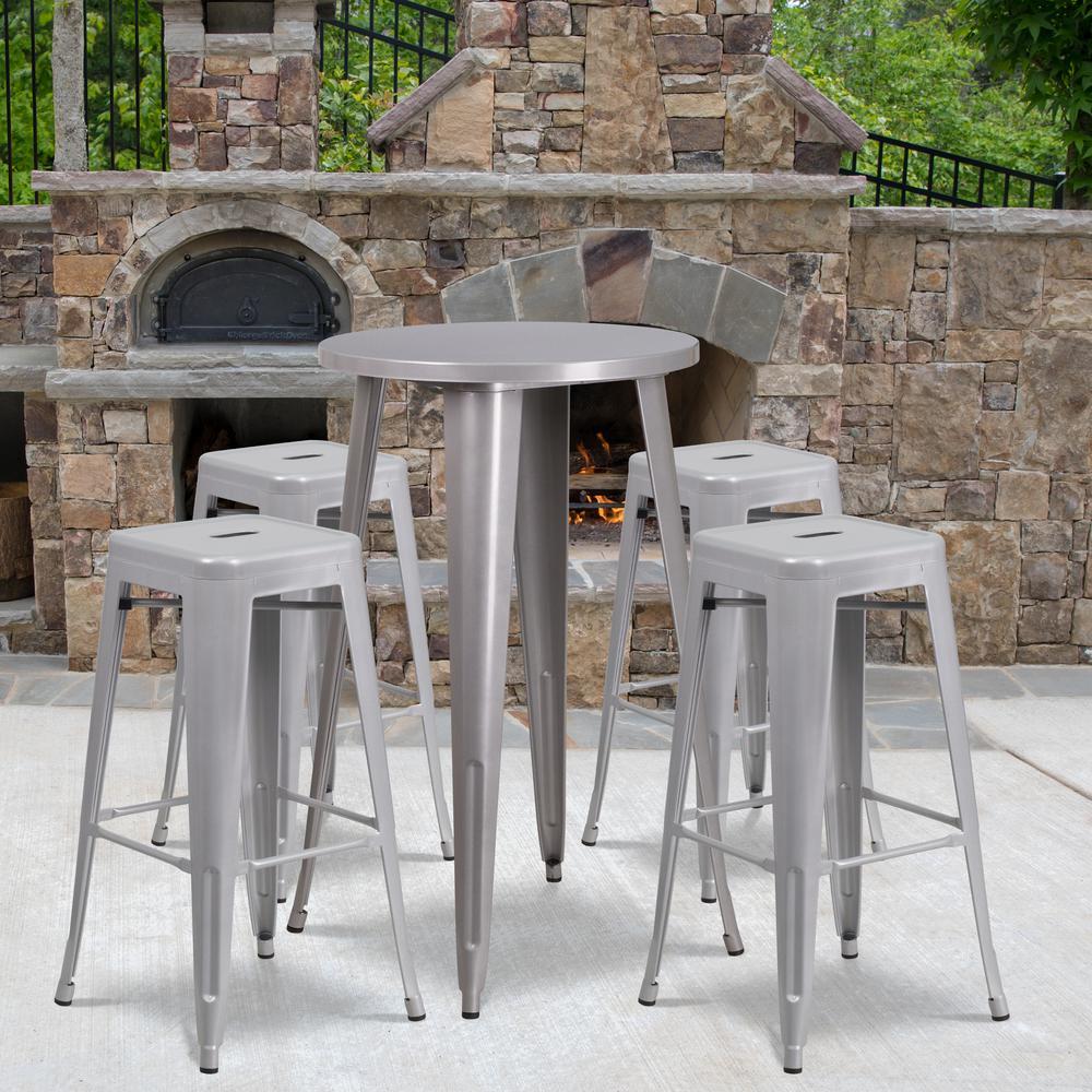 Silver 5-Piece Metal Round Outdoor Bistro Set