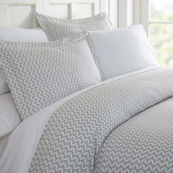Becky Cameron Puffed Chevron Patterned Performance Light Gray Twin 3-Piece Duvet Cover Set