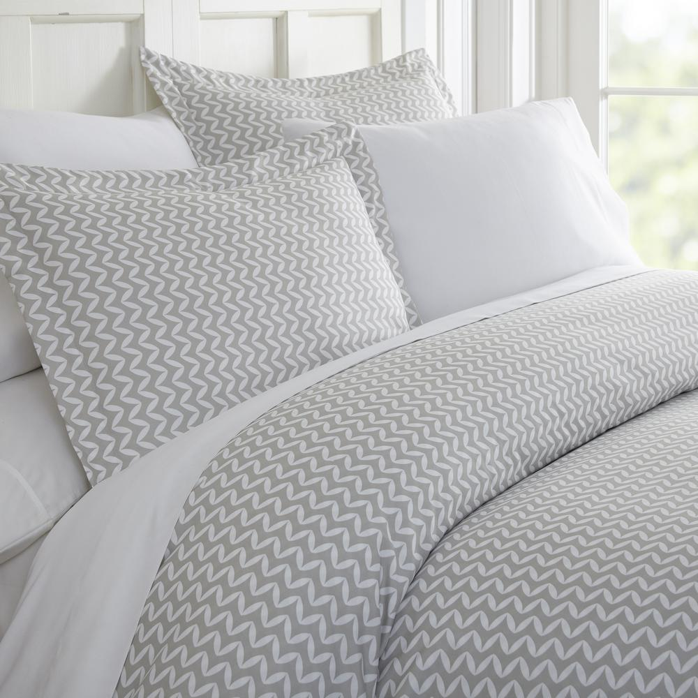 Puffed Chevron Patterned Performance Light Gray Queen 3-Piece Duvet Cover Set