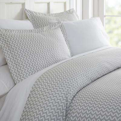 Puffed Chevron Patterned Performance Light Gray Twin 3-Piece Duvet Cover Set