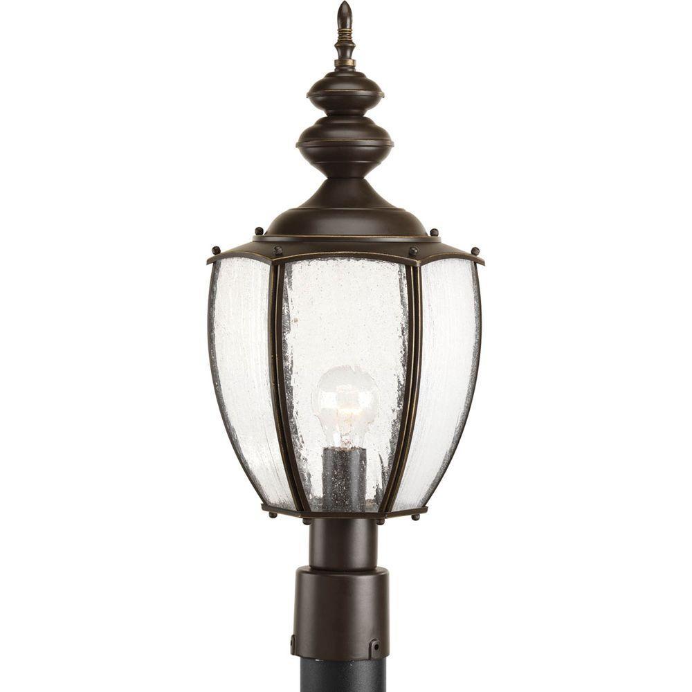 Progress Lighting Residence Collection 1 Light Antique Bronze Outdoor Post Lantern P6452 20 The Home Depot