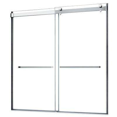 Lagoon 60 in. W x 76 in. H Semi-Frameless Sliding Shower Door in Silver without Handle