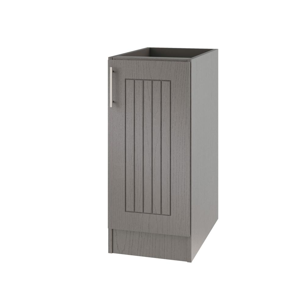 WeatherStrong Assembled 12x34.5x24 in. Naples Island Outdoor Kitchen Base  Cabinet with Full Height Doors Right in Rustic Gray