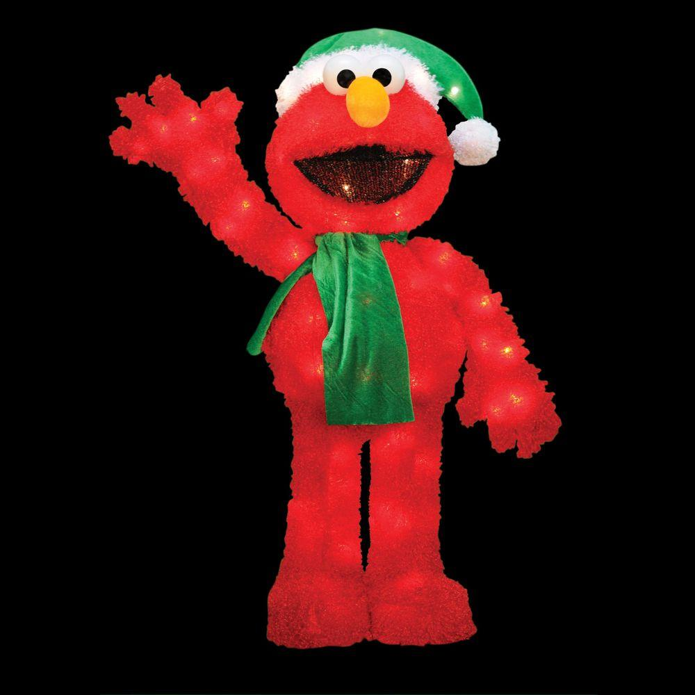 Sesame street 32 in pre lit led waving elmo 90109 mp1 the home depot for Home depot christmas decorations for the yard