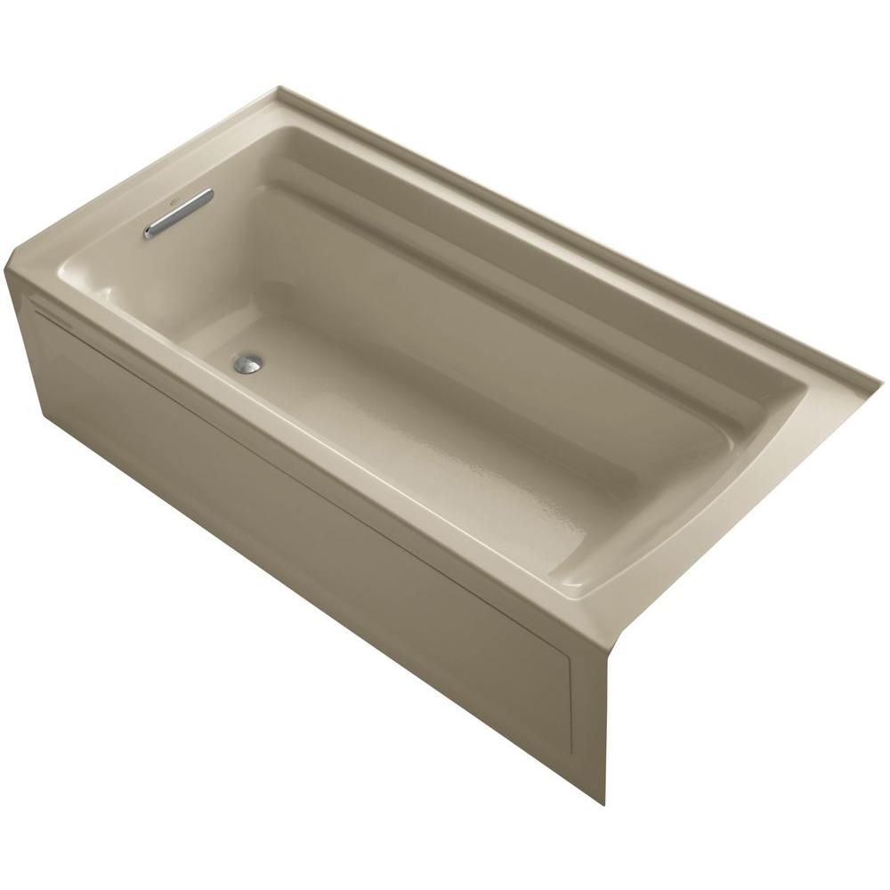KOHLER Archer VibrAcoustic 6 ft. Left Drain Soaking Tub in Mexican Sand with Bask Heated Surface