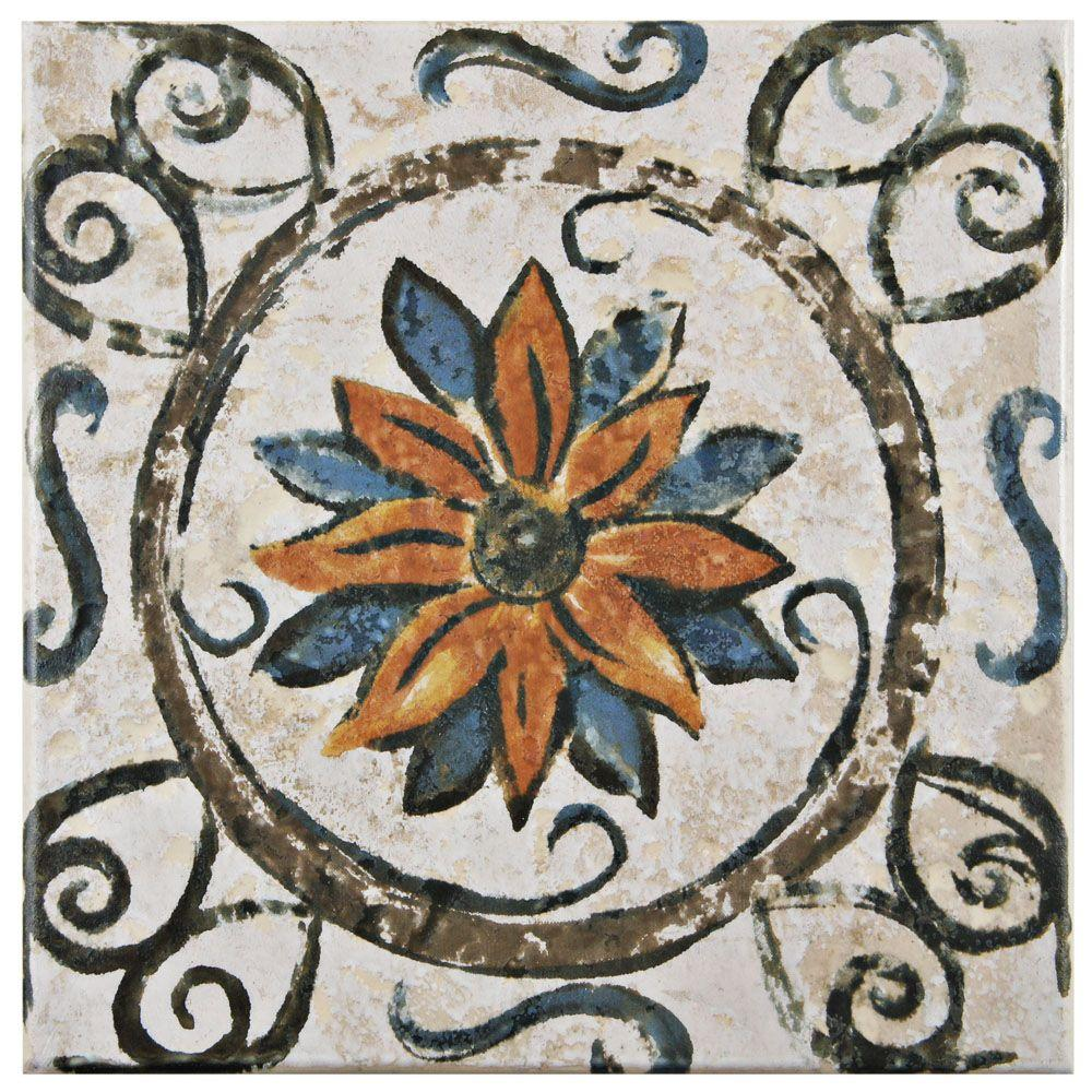 Merola Tile Provence Tradition Cornflower 7 3 4 In X 7 3 4 In Ceramic Floor And Wall Tile 11 11 Sq Ft Case