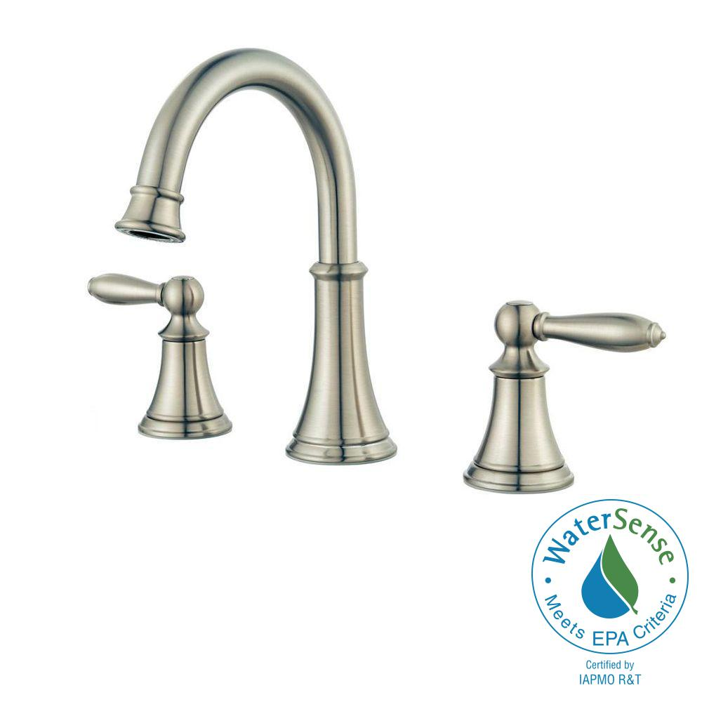 Pfister courant 8 in widespread 2 handle high arc for 8 bathroom faucet in brushed nickel