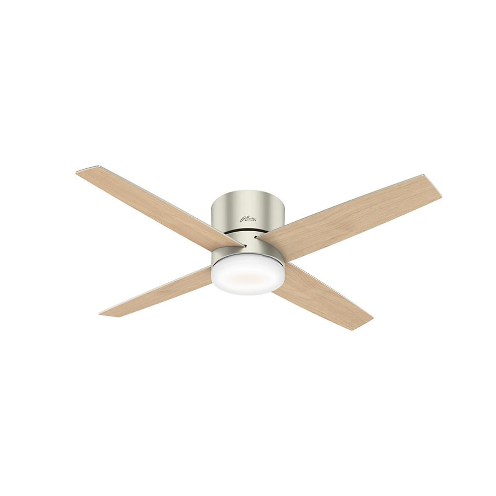 Hunter Advocate 54 in. Integrated LED Indoor Matte Nickel Low Profile Smart Ceiling Fan with Light and Remote Control