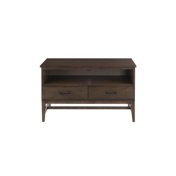 Bellamy Smoke Brown Wood 2 Drawer TV Stand with Cord Management (42 in. W x 25 in. H)