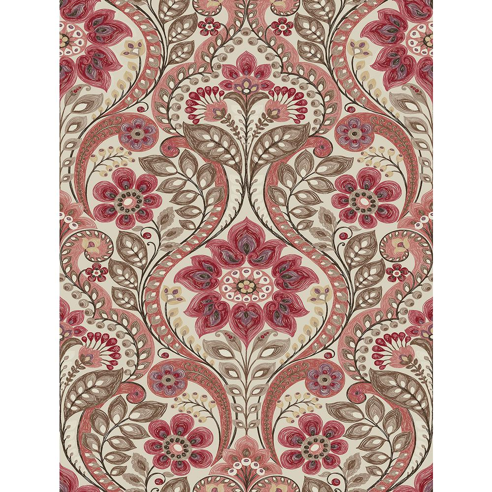 A Street 56 4 Sq Ft Night Bloom Coral Damask Wallpaper 2763