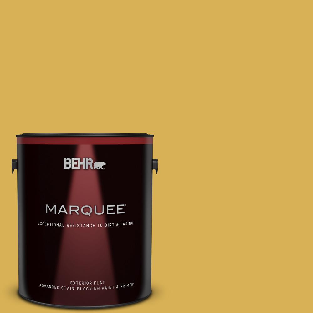 Behr Marquee 1 Gal 370d 6 Golden Cricket Flat Exterior Paint Primer 445301 The Home Depot