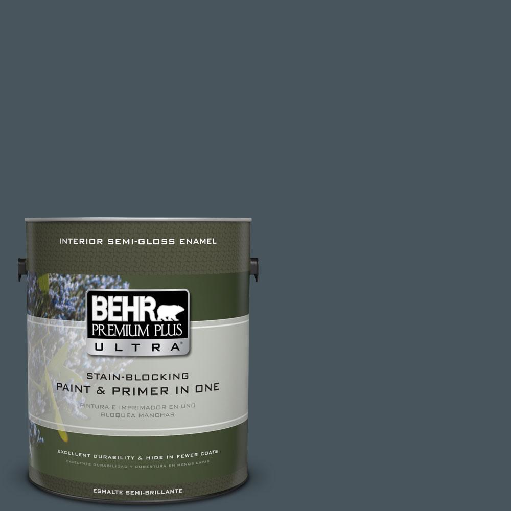 1-gal. #BNC-40 Moody Black Semi-Gloss Enamel Interior Paint