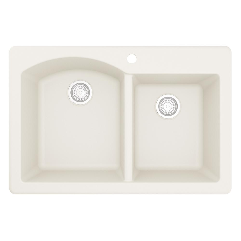 Karran Drop-In Quartz Composite 33 in. 1-Hole 60/40 Double Bowl Kitchen Sink in White