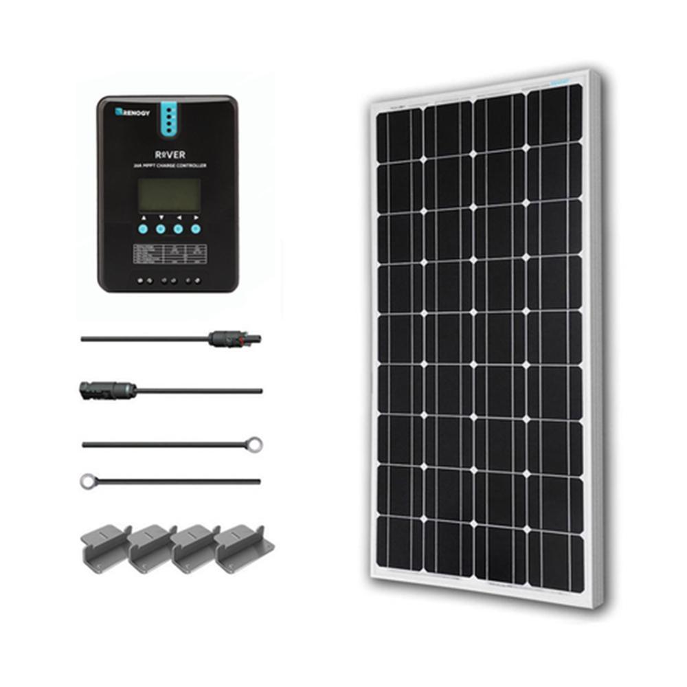 100-Watt 12-Volt Monocrystalline Off-Grid Solar Starter Kit with MPPT Charge Controller