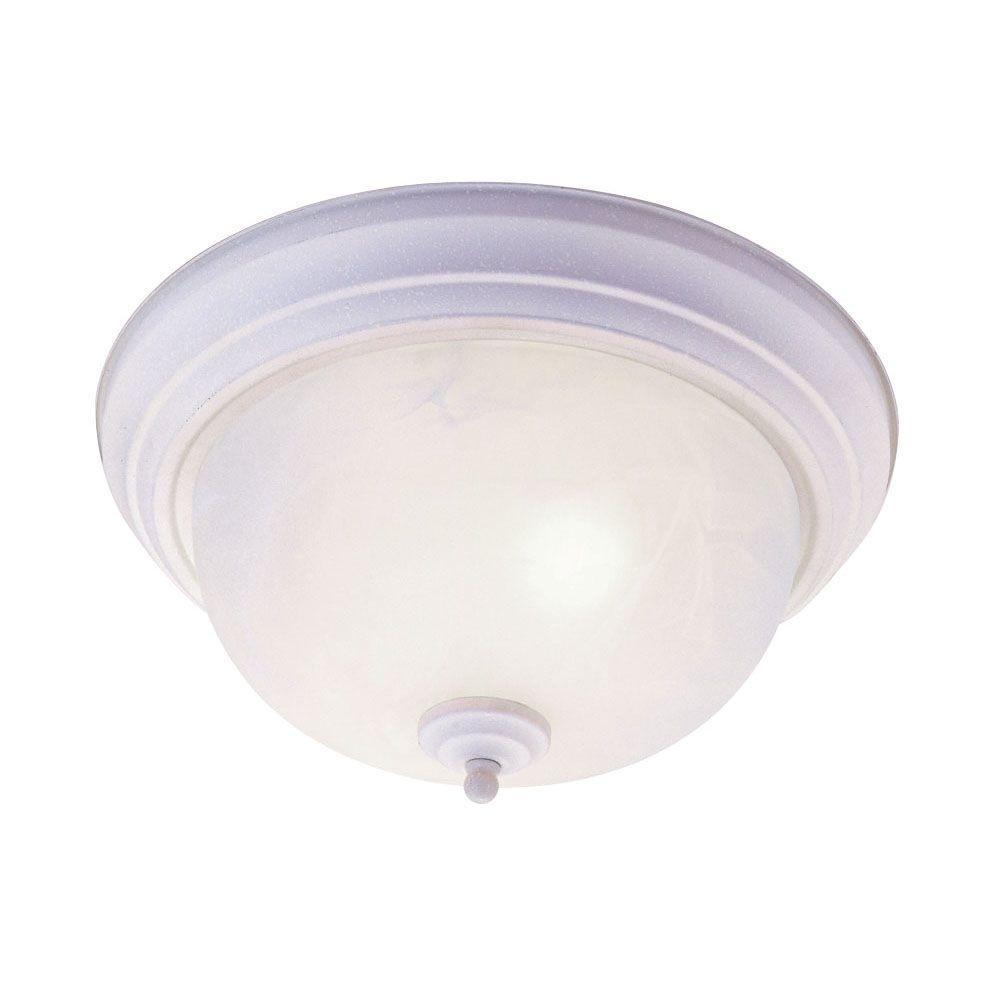 Livex Lighting Providence 3-Light 8.0 in. Bronze Flush Mount with White Alabaster Glass
