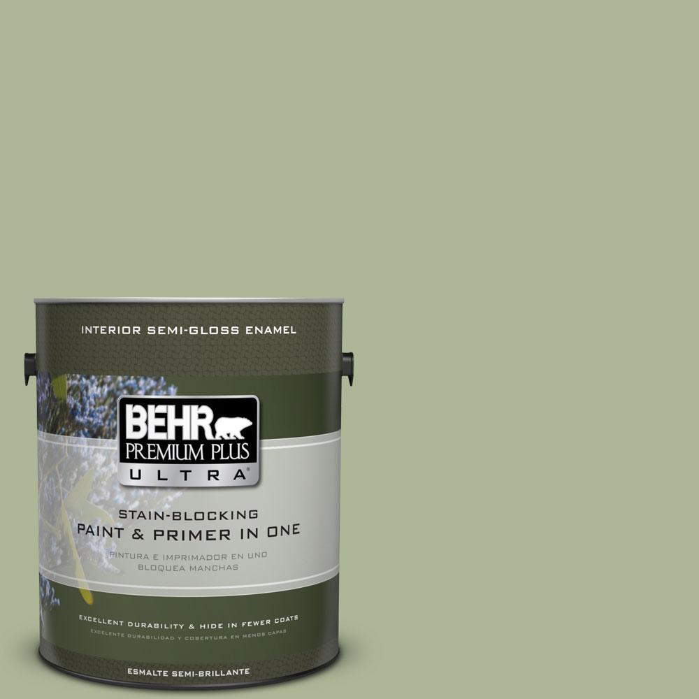 BEHR Premium Plus Ultra 1-gal. #PPU11-8 Moss Print Semi-Gloss Enamel Interior Paint