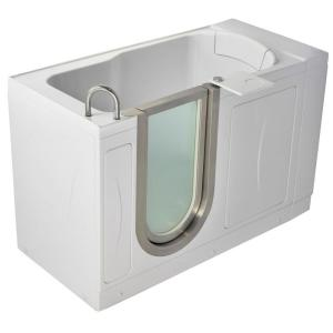 Ella Petite 4.33 ft. x 28 inch Acrylic Walk-In Soaking Bathtub in White with... by Ella