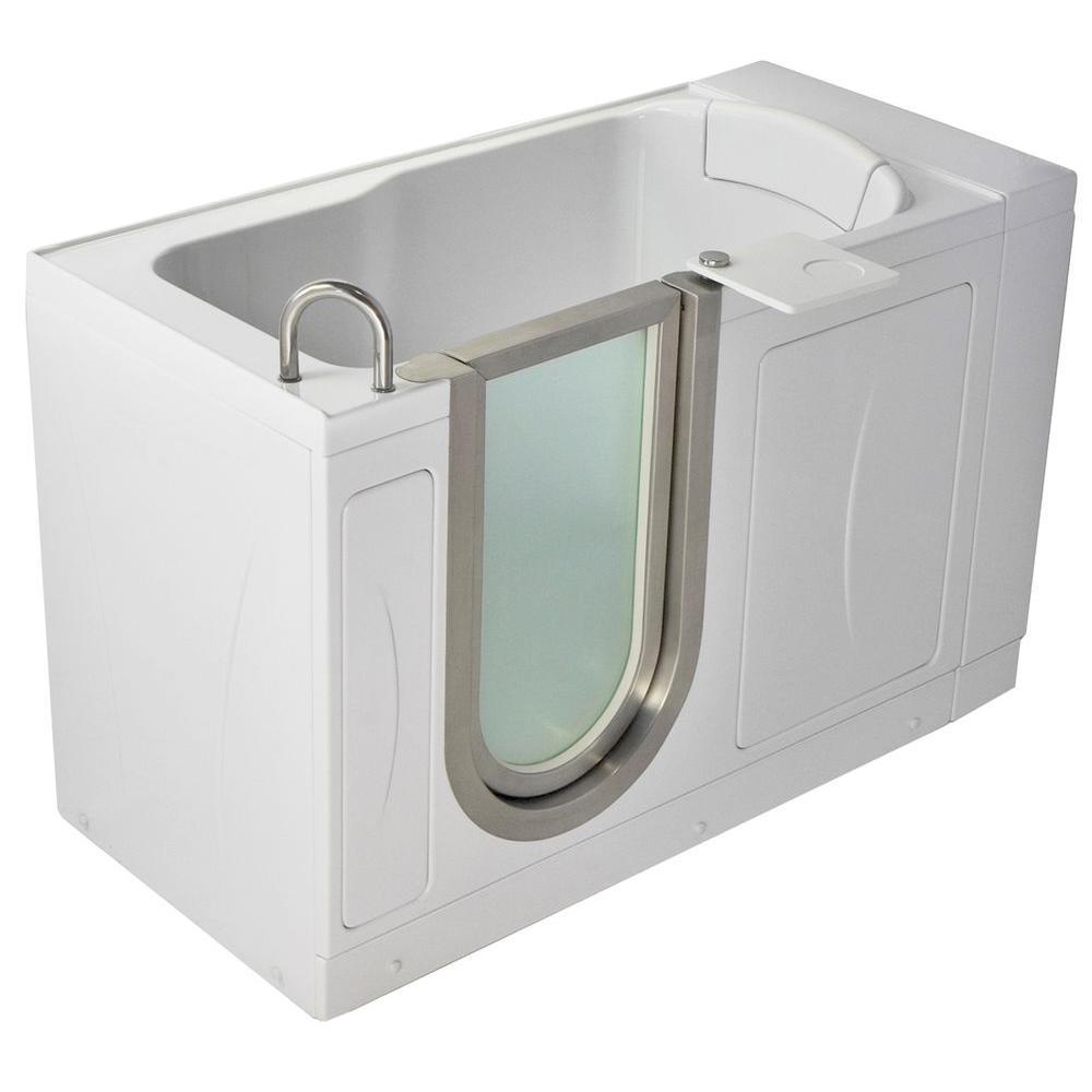 Petite 4.33 ft. x 28 in. Acrylic Walk-In Soaking Bathtub in White with Left Drain/Door