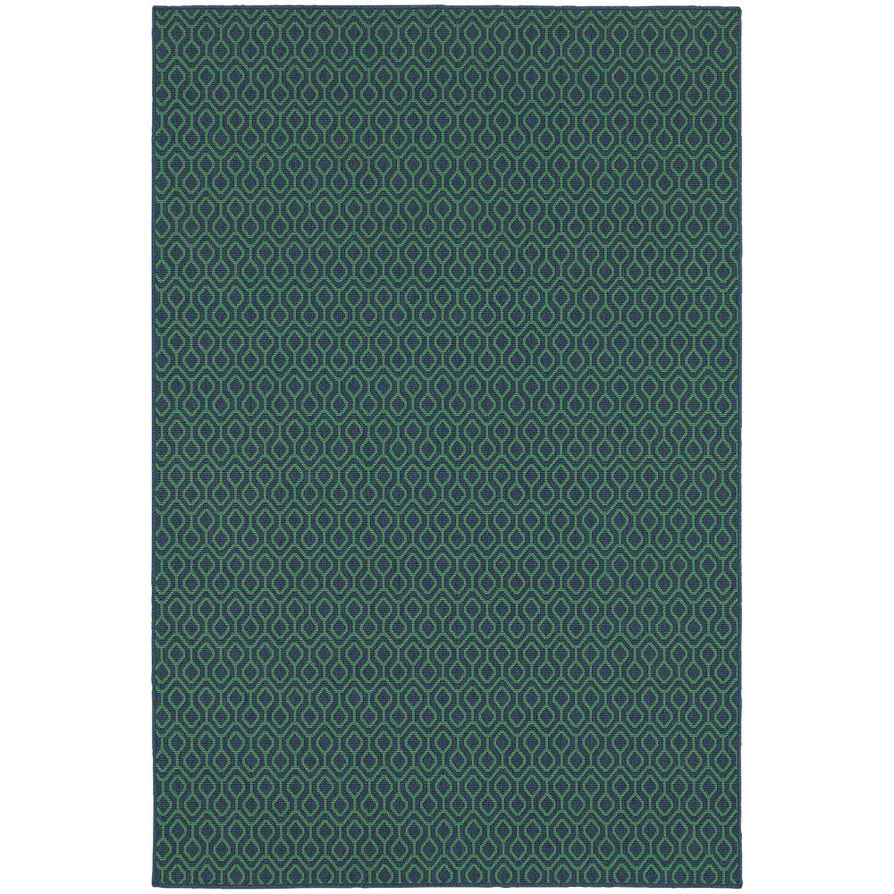 Waves Navy Green 4 ft. x 6 ft. Indoor/Outdoor Area Rug