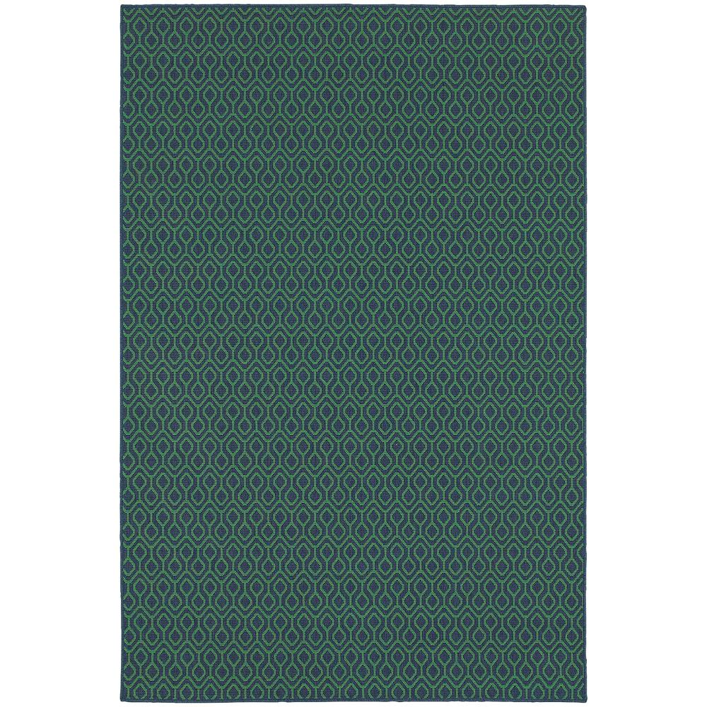 Waves Navy Green 8 ft. x 11 ft. Indoor/Outdoor Area Rug
