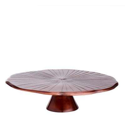 "12-1/2 in. D Antique Copper ""Lily Pad"" Cake Stand"