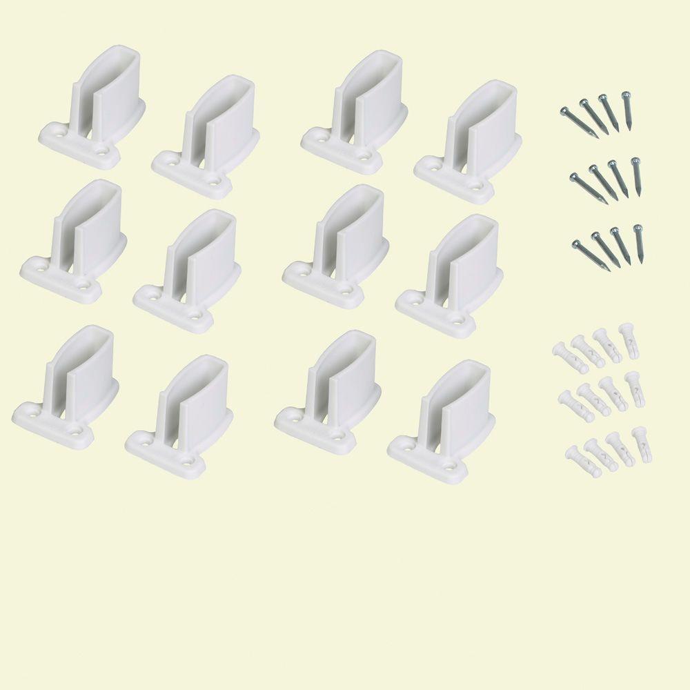 ClosetMaid 9 in. White Resin Heavy Duty Shelf Bracket for Wire Shelving (12-Pack)
